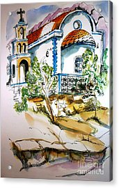Acrylic Print featuring the painting Greek Church by Therese Alcorn