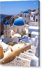 Greek Churches And Steps Acrylic Print by Paul Cowan