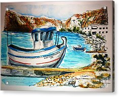 Acrylic Print featuring the painting Greek Fishing Boat by Therese Alcorn