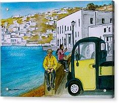 Greek Island Of Mykonis Acrylic Print by Frank Hunter