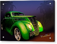 Green 37 Ford Hot Rod Decked Out For A Tropical Saint Patrick Day In South Texas Acrylic Print by Chas Sinklier