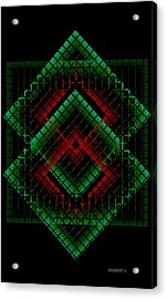 Green And Red Geometric Design Acrylic Print by Mario Perez