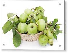 Green Apples In Basket Acrylic Print by Aleksandr Volkov