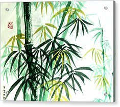 Acrylic Print featuring the painting Green Bamboo by Alethea McKee