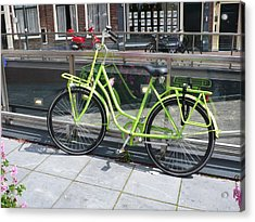 Green Bike Haarlem Holland Acrylic Print by Gregory Smith