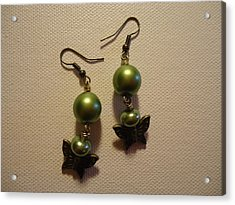 Green Butterfly Earrings Acrylic Print by Jenna Green