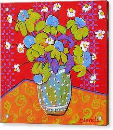 Green Daisy Bouquet Acrylic Print by Blenda Studio
