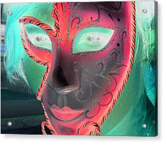 Green Girl With Red Mask Acrylic Print