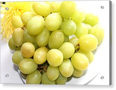 Green Grapes And Mum Acrylic Print by Barbara Griffin