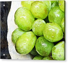 Green Grapes On A Plate Acrylic Print by Andee Design
