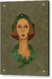 Green Hat Carre Woman Face  Acrylic Print by Rachel Hershkovitz