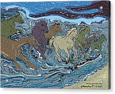 Green Horse Wave Acrylic Print by Susie Morrison