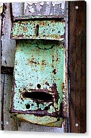 Green Mailbox Acrylic Print by Jo Sheehan