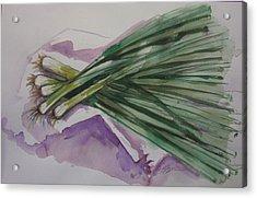 Green Onions Acrylic Print by Barbara Spies
