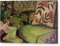 Acrylic Print featuring the painting Green Patio by Christy Saunders Church