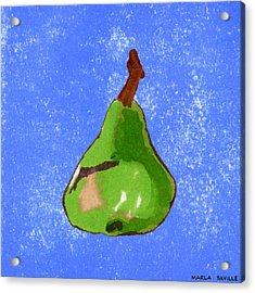 Green Pear On Blue Acrylic Print by Marla Saville