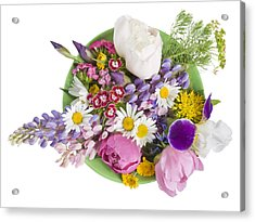 Acrylic Print featuring the photograph Green Plate With June Flowers by Aleksandr Volkov