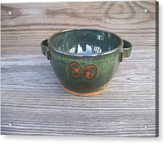 Green Soup Bowl Acrylic Print by Monika Hood