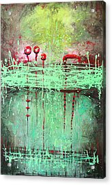 Green Splashes Acrylic Print by Lolita Bronzini