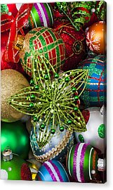Green Star Christmas Ornament Acrylic Print by Garry Gay