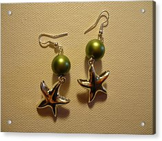 Green Starfish Earrings Acrylic Print