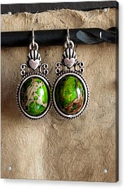 Green Turqoise Acrylic Print by Jan Brieger-Scranton
