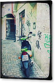 Green Vespa In Prague Acrylic Print by Linda Woods