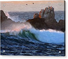 Green Waves Pastel Acrylic Print by Steve K