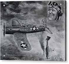 Gregory Pappy Boyington Acrylic Print by Brian Hustead