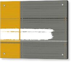 Grey And Yellow Acrylic Print by Naxart Studio