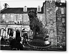 Greyfriars Bobby Statue In Front Of The Bar Candlemaker Row Edinburgh Acrylic Print by Joe Fox