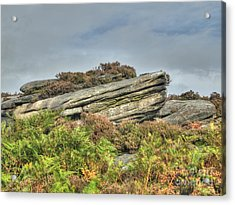 Gritstone Outcrop - Colour Acrylic Print by Steev Stamford