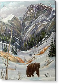 Acrylic Print featuring the painting Grizz by Al  Johannessen