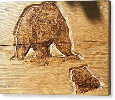 Grizzly Bear-1-wood Carving Pyrography Acrylic Print by Egri George-Christian