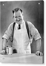 Grocery Store Salesman W/can On Counter Acrylic Print by George Marks
