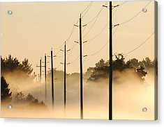 Ground Fog With High Wires Acrylic Print by Bruce Kenny
