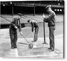 Groundskeepers Preparing Home Plate Acrylic Print by Everett