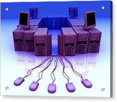 Group Of Personal Computers Acrylic Print by Christian Darkin