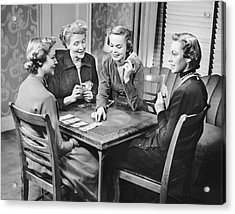 Group Of Women Playing Cards Acrylic Print by George Marks