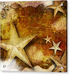 Grunge Golden Sparkle Star Background Acrylic Print by Angela Waye
