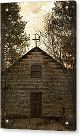 Grungy Hand Hewn Log Chapel Acrylic Print by John Stephens