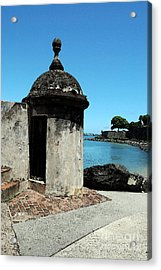 Guard Post Castillo San Felipe Del Morro San Juan Puerto Rico Watercolor Acrylic Print by Shawn O'Brien