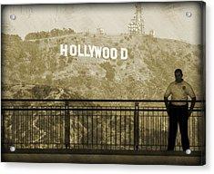 Guarding Hollywood Acrylic Print by Ricky Barnard