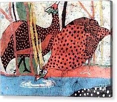 Guinea Fowl Drinking Acrylic Print