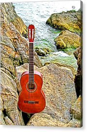Guitar By The Sea Acrylic Print by Jason Abando
