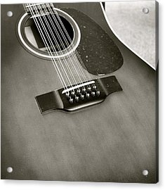 Guitar In Black And White Acrylic Print
