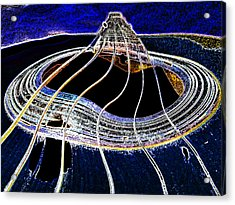 Guitar Warp Glowing Edges Acrylic Print by Anne Mott