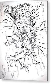 Acrylic Print featuring the drawing Gule Wamkulu - Malawi by Gloria Ssali