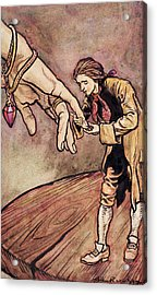 Gulliver In Brobdingnag Kissing The Hand Of The Queen Acrylic Print by Arthur Rackham
