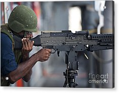 Gunners Mate Fires An M240g Light Acrylic Print